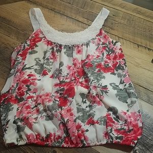 Wrapper Tops - Floral bubble sleeveless blouse XL